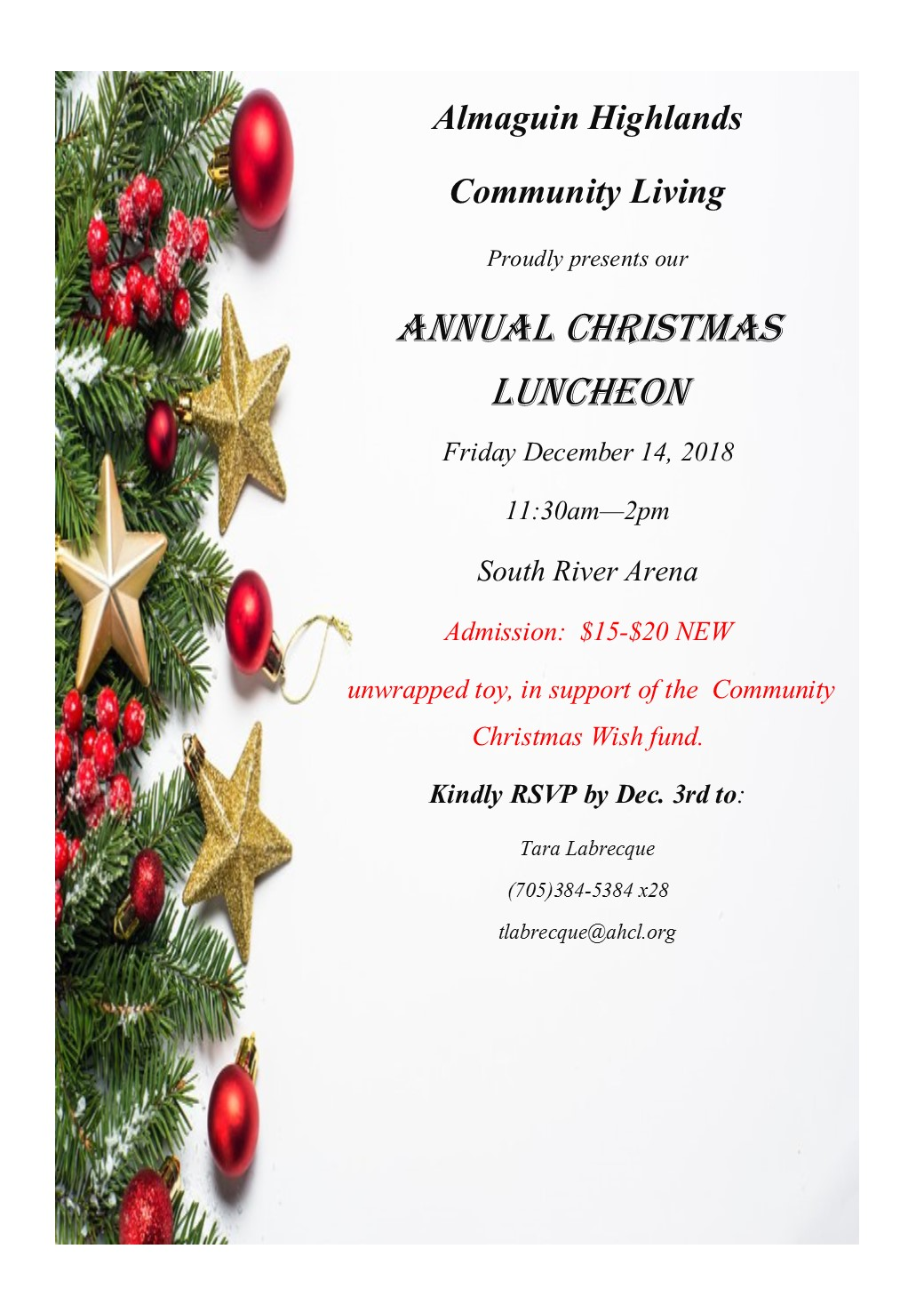 upcoming christmas luncheon almaguin highlands community living